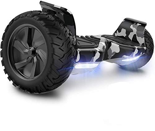 GeekMe Hoverboard Patinete Eléctrico Todo Terreno Scooter de Equilibrio con Potente Motor Luces LED Bluetooth para Adultos y Niños 8.5 Pulgadas