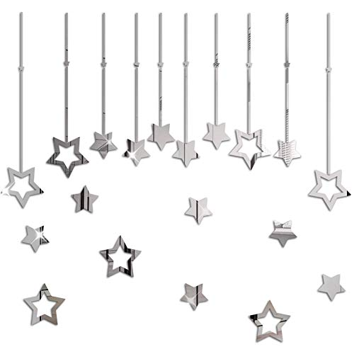 BHSTAR Solid and Hollow Star Set Mirror Wall Stickers Decals Self Adhesive Acrylic Home Decoration Silver Reflection
