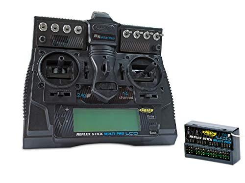 Carson 500501004 FS Reflex Stick Multi PRO LCD 2.4 GHz – 14-Kanal-Fernsteueranlage, Fernbedienung mit Empfänger für Modellbau-Fahrzeuge wie RC Autos und Schiffe