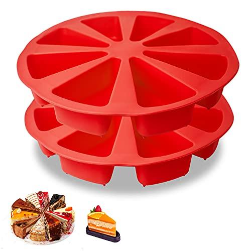 2 Pcs Silicone Cake Scone Pan,Triangle 8 Cavity Pizza Cake Pan,Internal Diameter 4 inch Cake Pan for Brownies Muffins,Cheesecake,Cornbread DIY Kitchen Baking Shapes (Red)