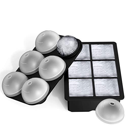 AOYAR Eiswürfelform Silikon 2 Stück, Groß Eiswürfelbehälter Eiskugelform mit Trichter, LFGB Zertifiziert und BPA Frei 100% Auslaufsicher Ice Cube Tray für Familie Partys Bier Whisky Babynahrung