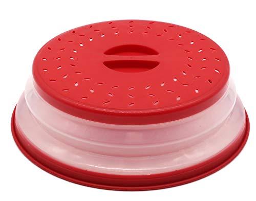 Coperchio per Microonde Coperchio Antischizzi per Microonde,con Fori per la fuoriuscita del Vapore,Non Tossico (Rosso)