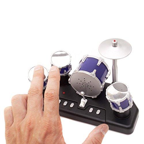 GOODS+GADGETS Elektrisches Mini Schlagzeug - Elektronische Micro Finger-Drums mit Aufnahmefunktion
