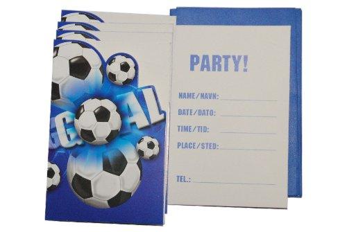 alles-meine.de GmbH 12 TLG. Set Einladungskarten - Fußball blau + Umschlag / Party Einladung Karte Fussball WM Ball Sport - Kindergeburtstag