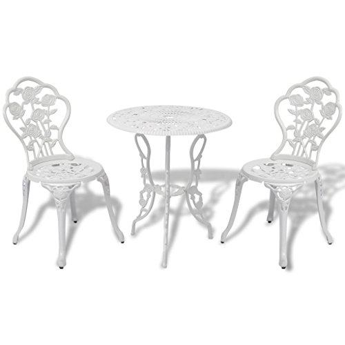 vidaXL 3 Piece Bistro Set White Cast Aluminium Garden Furniture Table Chair