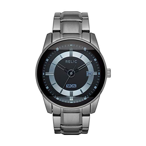 Relic by Fossil Men's by Fossil Everet Quartz Watch with Metal Strap, Gunmetal, 24 (Model: ZR12582)