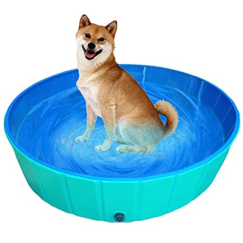 NACOCO Foldable Dog Pool Large Dog PVC Swimming Pool Cat Hard Plastic Water Pool Pet Outdoor Collapsible Swimming Pond in Summer for Dogs and Kids(Green,M)