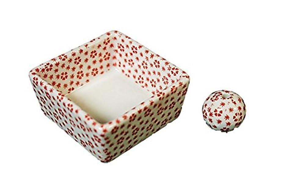 トンネルベッドフレア和モダン 桜小紋(赤) お香立て 陶器 角鉢 製造直売品