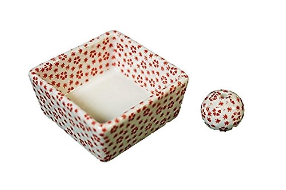 粘り強い盆地遠近法和モダン 桜小紋(赤) お香立て 陶器 角鉢 製造直売品