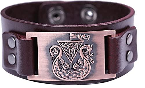 AMOZ B Pirata Vikingo Nórdico Nudo Irlandés Amuleto de Metal Conector de Puño Pulsera de Cuero para Hombres Mujeres Cuero Marrón,a