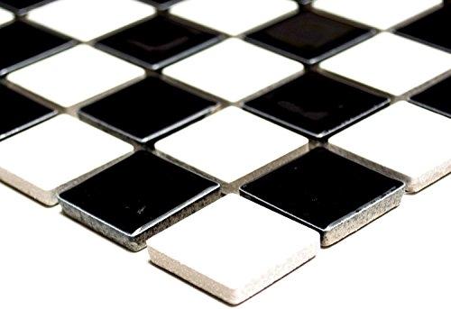Mosaik Quadrat schachbrett schwarz/weiß glänzend Keramik Mosaik, Mosaikstein Format: 2,5x2,5x6 mm, Bogengröße: 330x302 mm, 1 Bogen/Matte