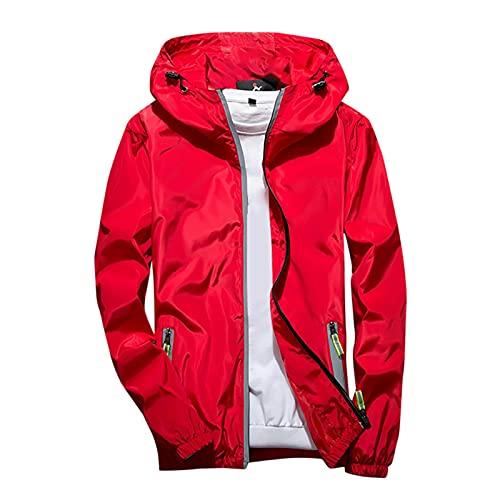 Sudadera con capucha de los hombres al aire libre deporte abrigo casual color puro más tamaño chaqueta reflectante cremallera, rosso, XXXXL