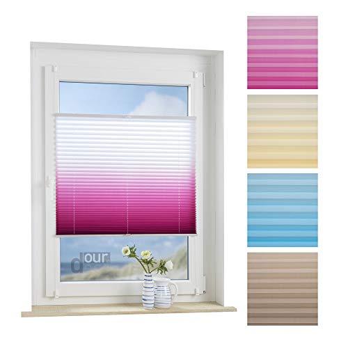 ourdeco® Plissee / 90 x 130 cm weiß-Beere/lichtdurchlässig, Blickdicht/Farbverlauf/Klemmen=Montage ohne Bohren=Smartfix=Klemmfix-Plissee=Easy-to-fix