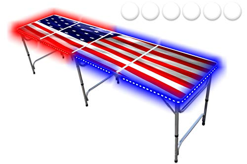 PartyPongTables.com 8-Foot Beer Pong Table w/ LED Lights - USA Edition