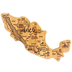 Celebrate Mexico with this beautiful bamboo cutting board in the shape of the country with permanent, laser-engraved artwork Fun, whimsical laser-engraved artwork calls out all the wonderful sights and places in the nation from Mexico City to Monterr...