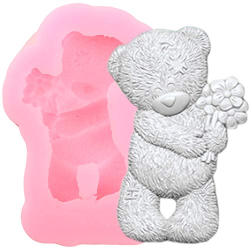 GRK 3D Bear Flower Silicone Mold Candy Chocolate Cookie Baking Molds DIY Cupcake Topper Wedding Fondant Cake Decorating Tools