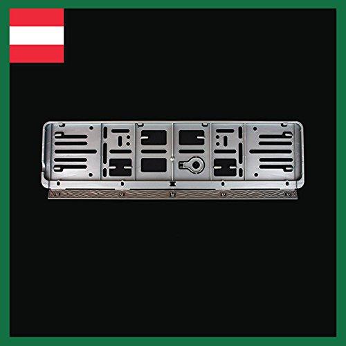 Wechselkennzeichen Rahmen: Österreich (520X120) 6er Set; 4X schwarz und zwei Mal in Farbe nach Ihrer Wahl! (Silber)