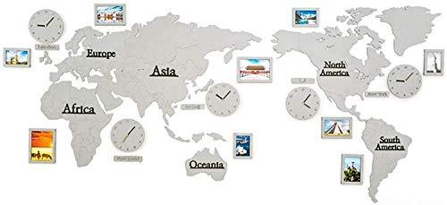 JIAJBG Reloj Mapa Del Mundo Grande Diy Reloj de Pared Decorativo-5 Reloj de Cuarzo Silencioso de 5 Países con Ms de Madera Ms - Decoración de la Pared de la Oficina en Casa Creativa
