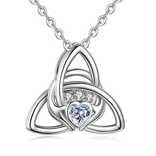 Eudora Frauen S925 Sterling Silber Halsketten Keltischer Knoten Anhänger Dreifaltigkeits Glücksanhänger Ketten, Claddagh Symbol Zirkonia Anhänger Das Beste Geschenk für Frauen Damen, 18