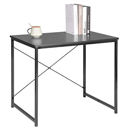 WOLTU Escritorio de Computadora Muebles de Oficina Mesa de PC Mesa de Oficina de Madera y Acero, con Estante TSB03she Negro