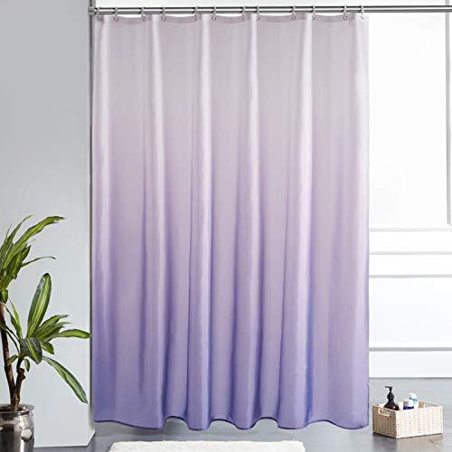 Furlinic Duschvorhang 180x200 Textile Gardinen aus Stoff Wasserdicht Anti-schimmel Waschbar in Badezimmer Weiß nach Lila Vorhang für Badewanne mit 12 Duschringe.