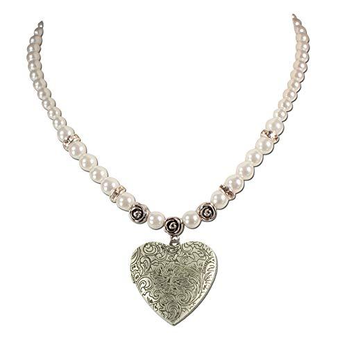 Trachtenkette Perlen & Amulettherz - Damen Perlenkette mit Strass, Dirndlkette Trachtenherz Amulett zum Öffnen für Trachtenbluse, Trachtenschmuck fürs Oktoberfest Dirndl-Schmuck (creme-weiß)