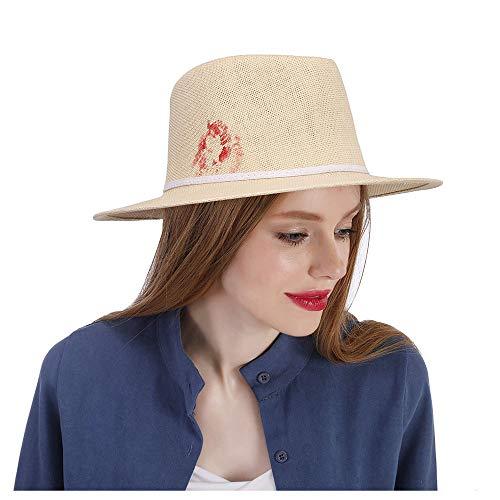 Duyani Sombrero Fedora de Paja for Mujer con Sombrero de Panamá con Flores Rojas Dibujadas a Mano Sombrero for el Sol Sombrero for el Sol (Color : Natural, Size : 57-58CM)
