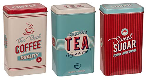 MIK Funshopping 3-TLG Set Retro Metall-Dose Blechdose Coffee, Tea & Sugar - Kaffeedose, Teedose, Zuckerdose mit Deckel - Vintage Design