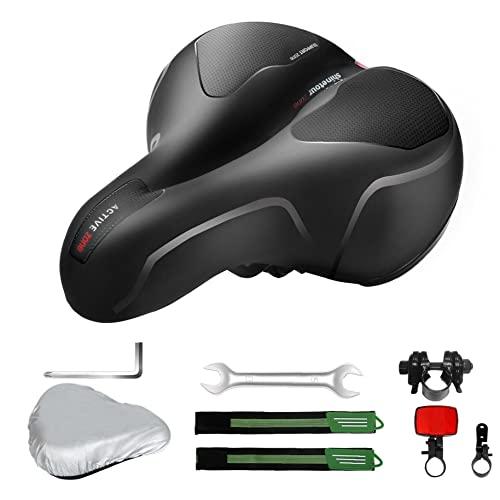 Bike-Zubehör-Kit, Fahrradsitz breiter Radsattel-Sattel-Memory-Foam Atmungsaktives Kissen-Pad mit Deckelinstallation-Tool für Mountainbike