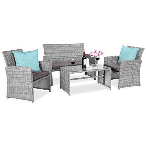 Best Choice Products 4-Piece Wicker Patio Conversation Furniture Set w/ 4 Seats, Tempered Glass Table Top - Gray Wicker/Gray Cushions