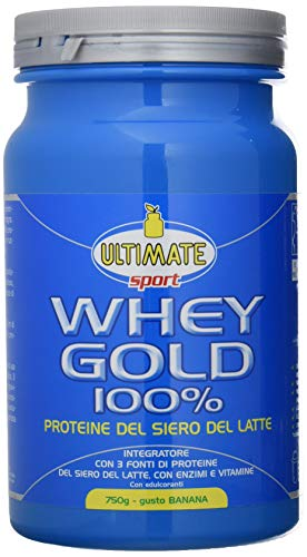 Ultimate Italia Whey Gold 100% - Proteine Del Siero Del Latte Isolate E Idrolizzate – Integratore Di Proteine Per La Crescita E Il Mantenimento Della Massa Muscolare Magra, Gusto Banana, 750 g