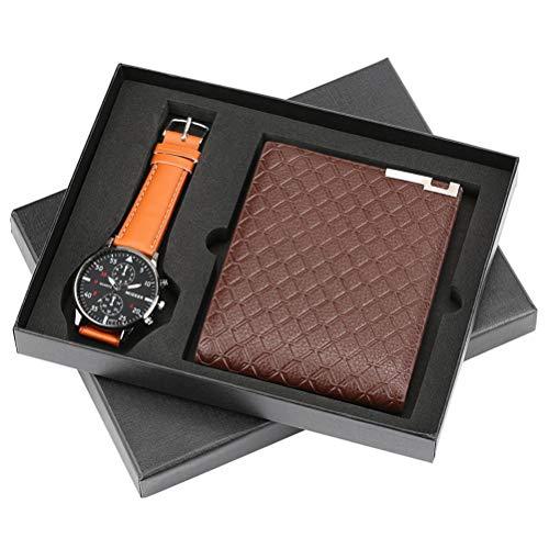 HYAA Herrenuhren Geschenkset Minimalist Quarz-Armbanduhr Kartenhalter-Mappen Uhren Männer 2 PC-Geschenk-Set mit Geschenkkasten,F