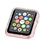 Fashion Metal Case with Bling Crystal Diamonds Plate Protective Cover Ultra Thin Bumper Compatible Watch 38mm/42mm Series 1/2/3(Best 3D Bling Gift for Your iWatch) (Rose Gold, 38 mm)