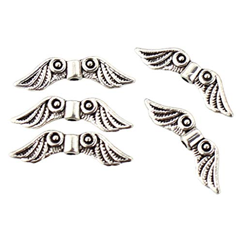 Oyrcvweuy 50 Pcs Metal Beads for DIY Jewelry,Angel Wing Shaped Small Beads,Bracelets Necklace Making Accessories