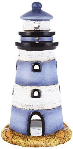 HEITMANN DECO Windlicht Leuchtturm aus Keramik - schöne Maritime Deko - Tischdeko, Wohnzimmer - Blau, Weiß