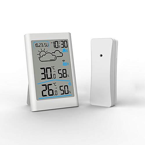 AOZBZ Estación meteorológica inalámbrica Digital Termómetro Interior y Exterior con Sensor Exterior Monitor de Temperatura y Humedad Medidor de Humedad Medidor Despertador Posponer luz de Fondo