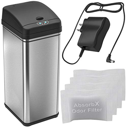 iTouchless Automatic Trash Can with AC Adapter and 4 Odor Filters, Big Lid Opening Touchless Sensor Kitchen Trash Bin, 13 Gallon, Stainless Steel
