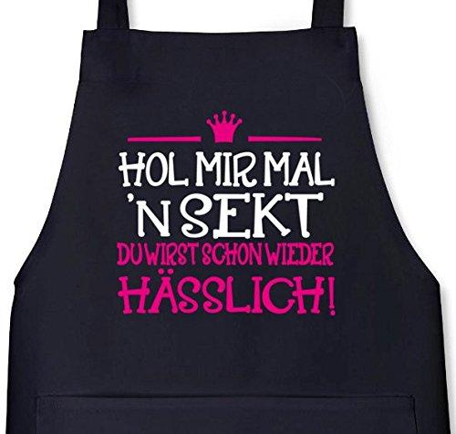Shirtstreet24, Hol mir mal 'n Sekt, Grillen Barbecue Grill Schürze Kochschürze Latzschürze, Größe: onesize,Schwarz