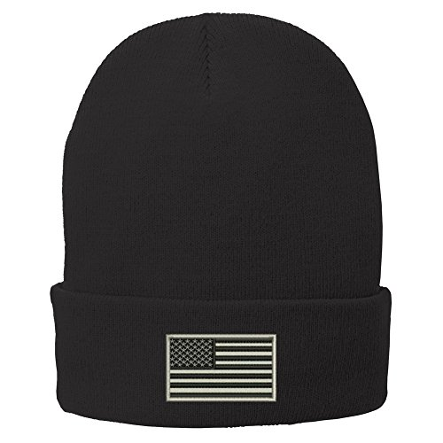 Trendy Apparel Shop US American Flag Grey Embroidered Winter Folded Long Beanie - Black