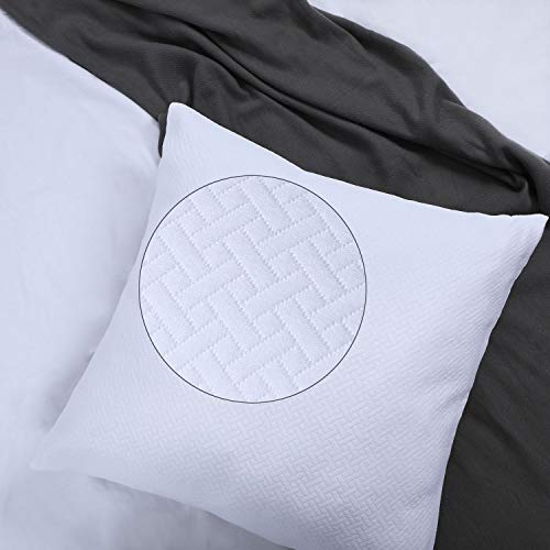 White Euro Sham Covers 26x26 Quilted Pattern Matelasse European Pillow Covers Set of 2 Textured Euro Pillowcases Brocade Large Lattice Jacquard Basket Weave Thick GEO Cotton Big Square Pillow Covers