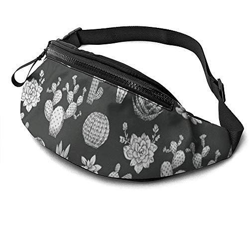 Jrey.T Cactus Printing Runner's Fanny Bag Waist Pack Réglable Sangles Poche avec Prise Casque pour Unisexe