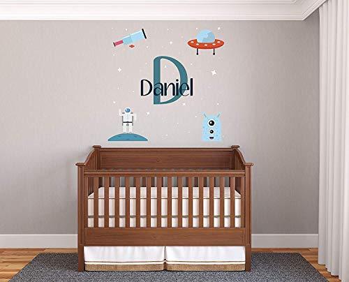 Aangepaste naam & initiële microscoop ruimteschip astronaut - Prime serie - kwekerij muursticker voor baby ROM decoraties - muursticker voor thuis kinderkamer (breed 22