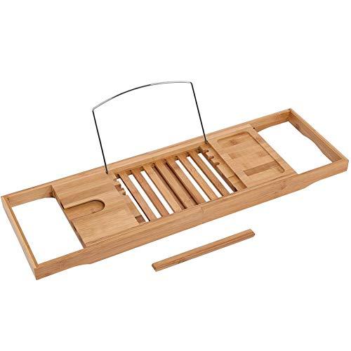 Estante para bañera, Estante Extensible de bambú para bañera, Estante para baño, Ducha, bañera, Bandeja para Lectura de Libros, 1 Pieza