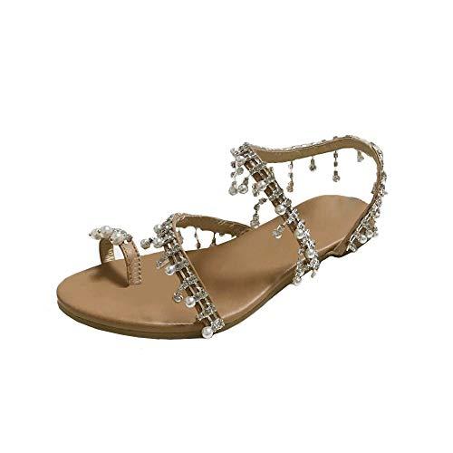 Lazzboy Sandalen Sommer Mode Frauen Perlen Schuhe Party Sexy Perle Flache Unterseite(41,Braun)