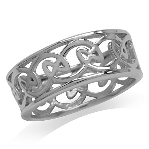 Silvershake 8mm 925 Sterling Silver Celtic Knot Band Ring Size 7