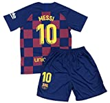 Bayli New Youths Messi 10 Home Jersey & Shorts (Small (5-6 Years Old)) Red, Blue