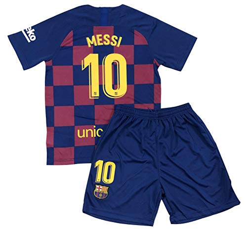 Bayli New Youths Messi 10 Home Jersey & Shorts (Large (9-10 Years Old)) Red, Blue