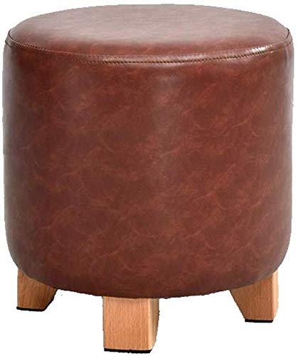 YLCJ Kruk, massief houten lederen bank sofakruk, kruk voetensteun schoenenbank persoonlijkheid kleine bank kruk ottoman futon (kleur: oranje) dark red