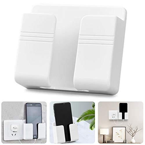 ZSWQ Telefonhalter Wandmontage Damage-Free Wandhalterung für Smartphones, ABS-Wand-Organizer-Box mit Haken für Handy-Ladestation, Fernbedienungs-Aufbewahrungsbox, 2St