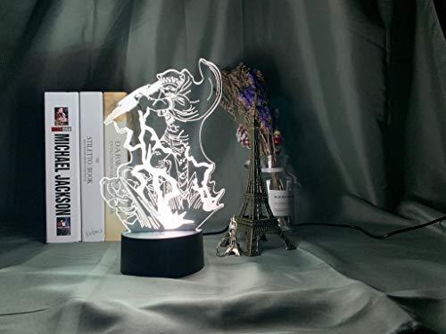 Lámpara de luz nocturna LED 3d Anime japonés ONE PIECE Trafalgar D. Water Law Figura Luz nocturna para dormitorio infantil Lámpara de decoración junto a la cama, 16 colores con control remoto